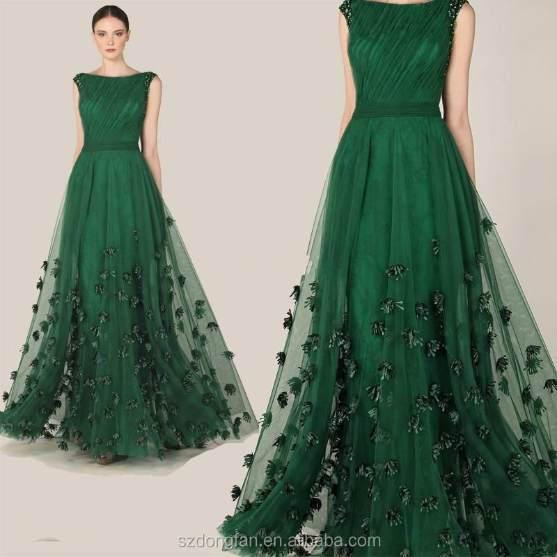 Fashionable Evening Dress 2016 Emerald Green Tulle Cap Sleeve Party ...