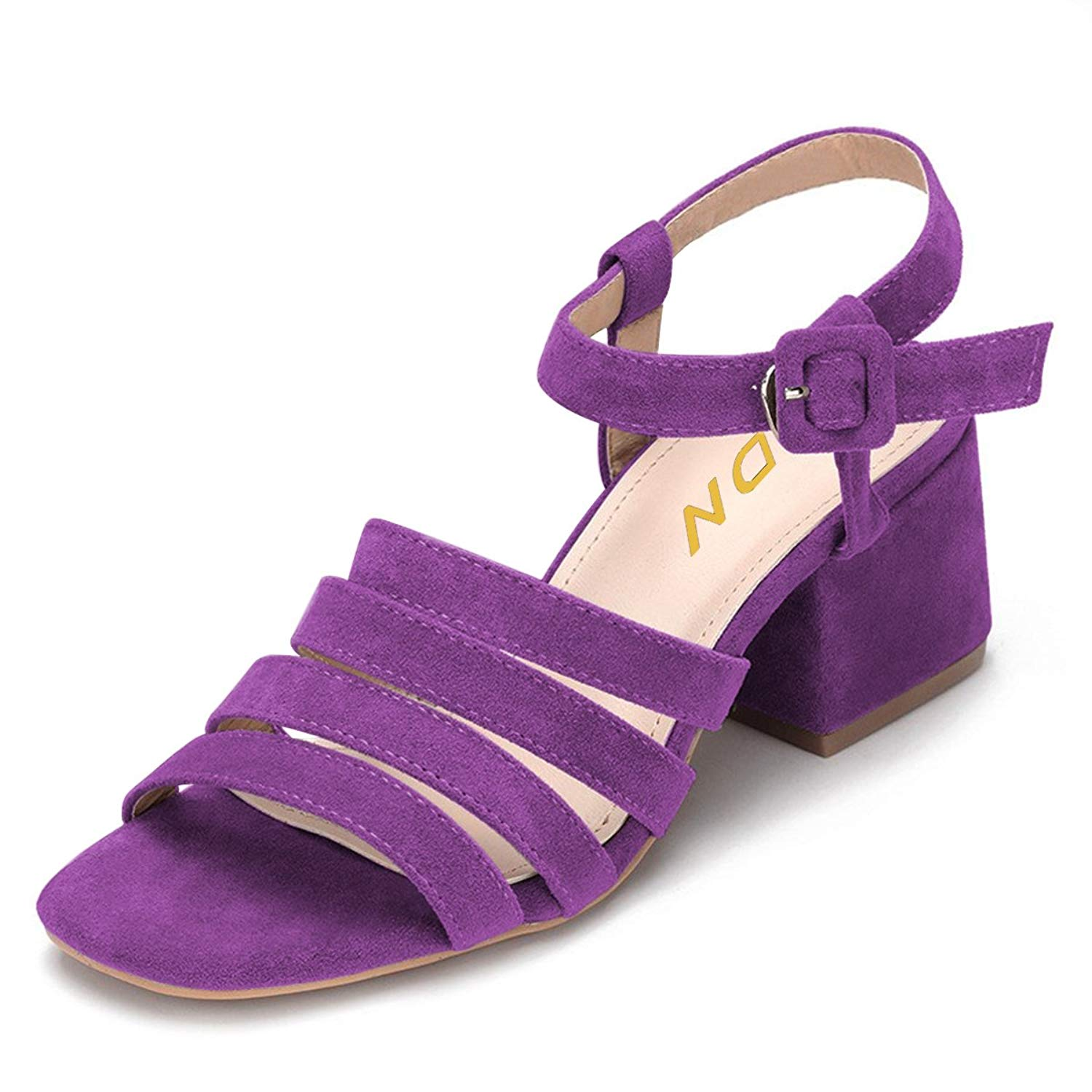 9b1fbfffb3ad YDN Womens Strappy Ankle Strap Sandals Open Toe Block Low Heels Pumps  Slingback Buckle Shoes