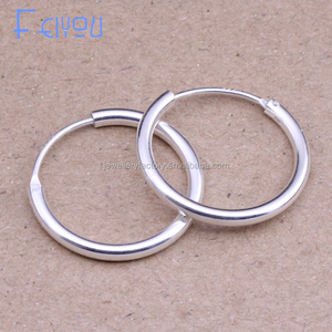 Round Hoop Earrings Genuine 925 Sterling Silver for Women Men Trendy Circle Earrings