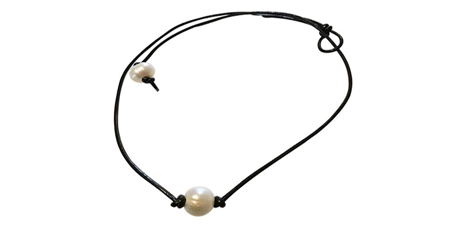 JL Jewelry Novelties Single Pearl Choker, Leather Pearl Choker, Handmade Leather Pearl Choker Necklace on Genuine Leather Cord for Women, Boho Leather Necklace