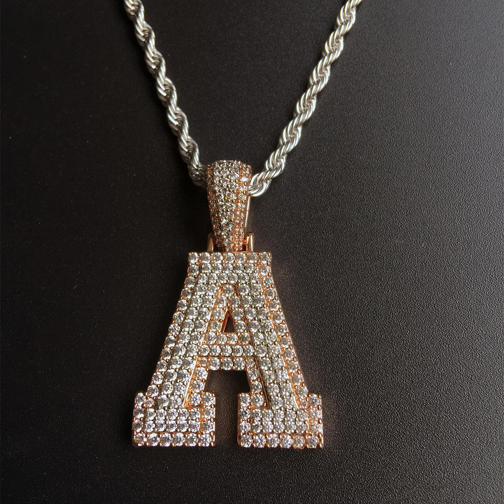 Miss Jewelry Fashion Micro Pave Small 925 Silver Letter Pendant