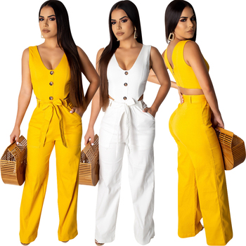 LD6196 women fashion white yellow solid straight casual jumpsuit