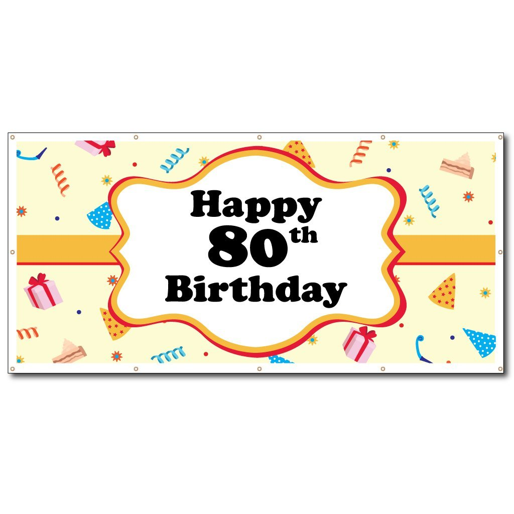 Happy 80th Birthday Party Hats 4x8 Vinyl Banner