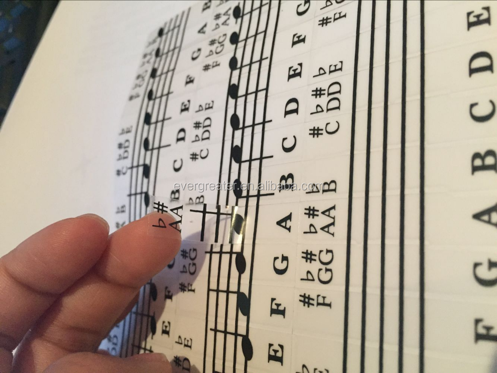 Custom Transparent sticNew - Keysies Transparent Plastic Removable Piano and Keyboard Note Stickers - Plus Handy Placement Guide