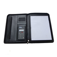 Mulit-fuction Factory direct business zippered leather portfolio With Pen Holder,Leather Organizer Padfolio For Ipad