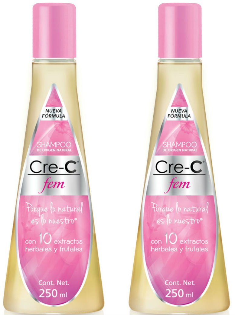 Shampoo Cre-C Fem 8.46 Ounce (Pack of 2) - Official New Formulated Champu Cre-C Fem with Ingredients Including Ginseng - Official Crece Fem Hair Growth Stimulating Shampoo for Women - Anti-Hair Loss Shampoo - For Hair Loss, Scalp Treatment and Dandruff Relief
