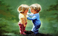 Lovely portrait picture decor little boy and girl modern children oil panting