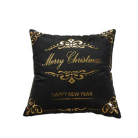Hot Merry Christmas Series Gold Foil Print Square Decorative Throw Pillow Cushion