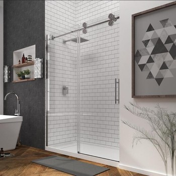 Bathroom Freestanding Frameless 10mm Sliding Gl Hanging Rollers Shower Door