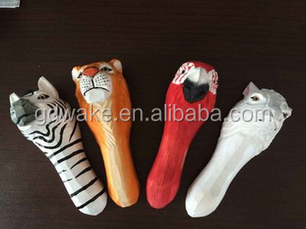 eco-friendly animal shape souvenir caved wooden,promotional beer openers wooden hand painting Bottle Openers animal shaped