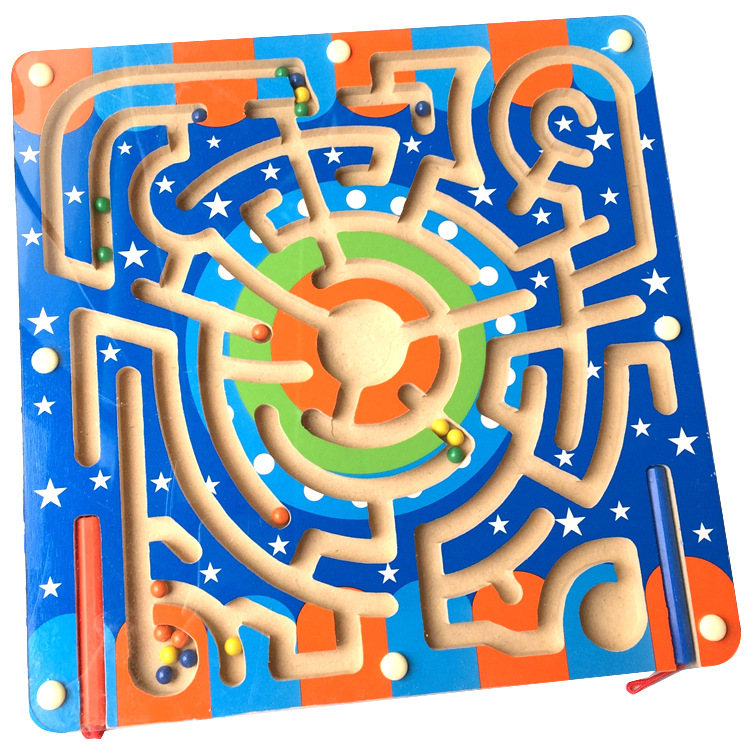 Magnetic 3d maze puzzle wooden toy juguetes educational toys kids