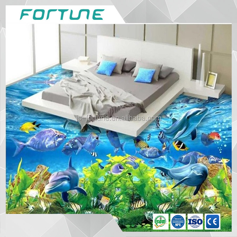 Custom 3 d PVC wallpaper photo wallpaper Super clear beautiful sea world 3 d floor painting
