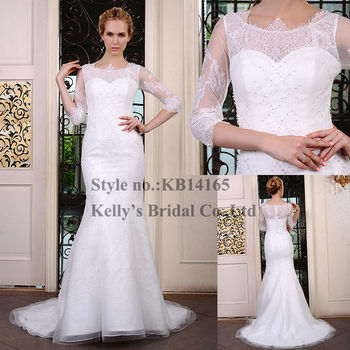 Latest Design Long Train Mermaid Long Sleeve Beading Bodice Crystal Bling Wedding  Dresses