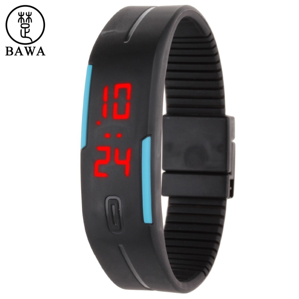 Xfcs Wrist Watch 2015 Fashion Ultra Thin Unisex Digital LED Bracelet Watch Black Wristband Red LED Display relojes de marca
