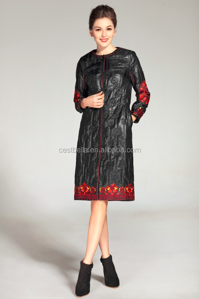 New Arrival Wholesale Women Overcoat printed embroidered long women denim coat Elegant