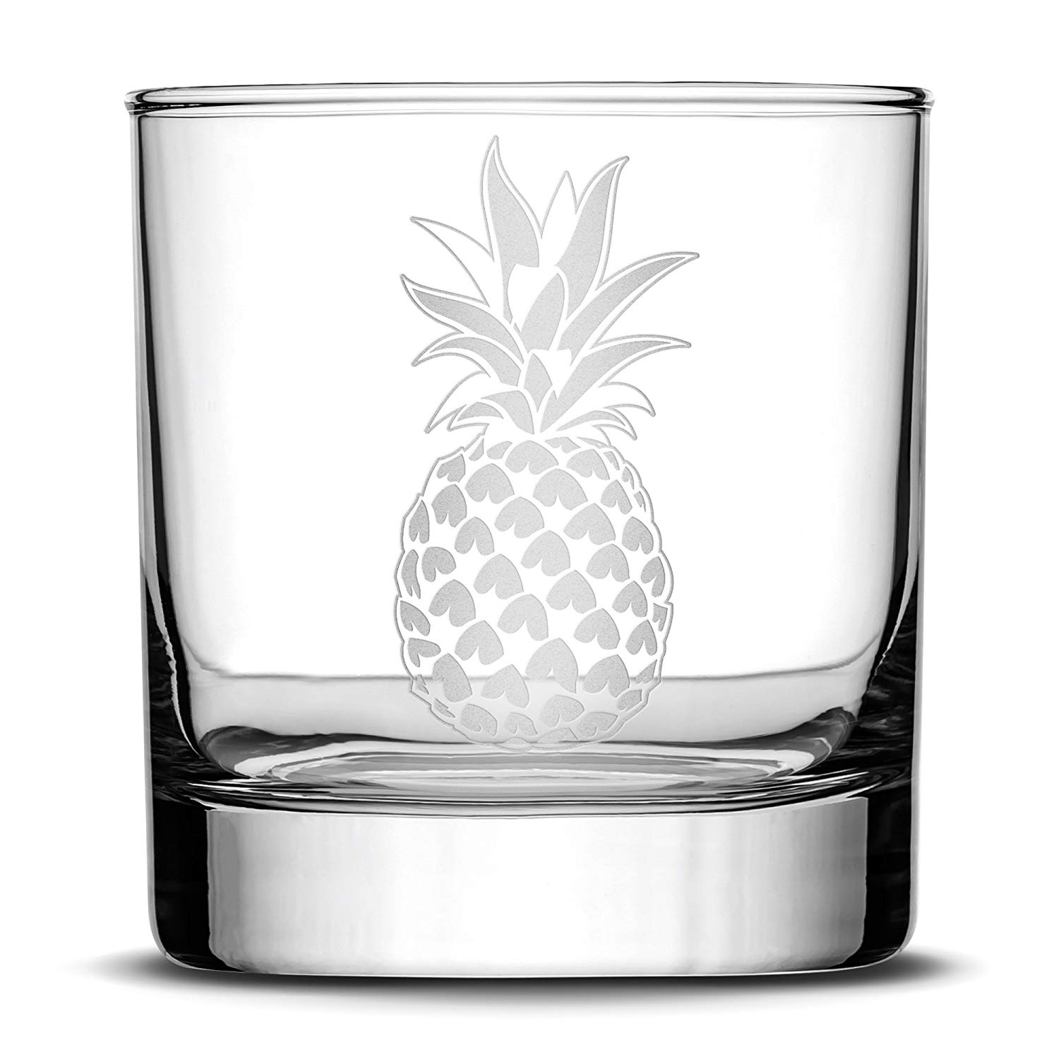 Premium Pineapple Whiskey Glass, Hand Etched Design, 10oz Rocks Glass Made in USA, Highball Gifts, Sand Carved by Integrity Bottles