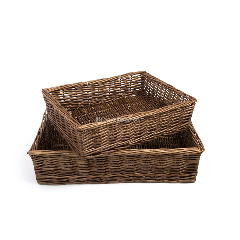 Natural color rectangle wicker handmade trays use for storage fruit/bread/vegetable