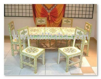 Nice Hand Painted Dining Table   Indian Painted Furniture Part 20