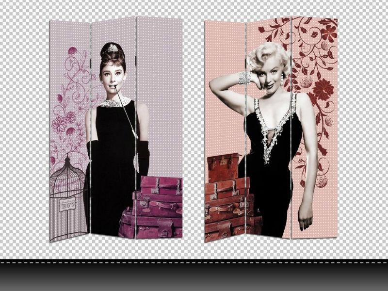 Audrey Hepburn & Marilyn Monroe 3 Panel Canvas/wooden Folding Screen - Buy Marilyn  Monroe Room Divider,Marilyn Monroe Canvas Room Divider,Audrey Hepburn ... - Audrey Hepburn & Marilyn Monroe 3 Panel Canvas/wooden Folding