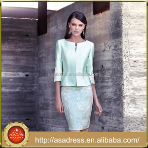 CR33 Elegant Knee Length Mint Green Mother of the Bride Dresses Suits Half Sleeve Lace vestidos de madrina