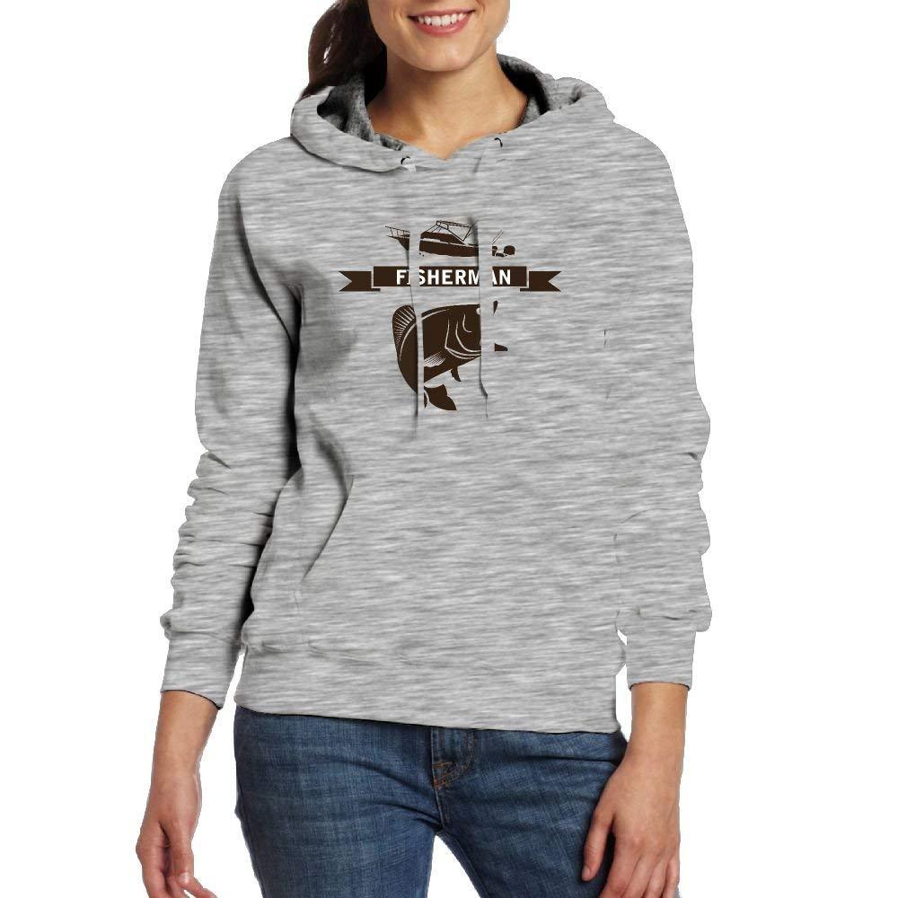 Fisherman Funn Women Pocket Long Sleeve Hoodies Crew-neck Pullover Sweatshirts