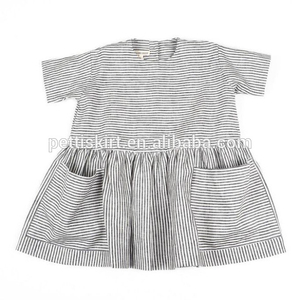 Wholesale Stylish 6 Years Old Baby Dresses Striped Design Pocket Skirt