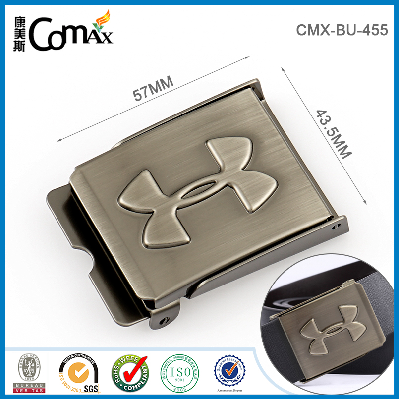 Luxury Custom Metal Men Leather Pressing Reversible Slide Belt Buckle Parts
