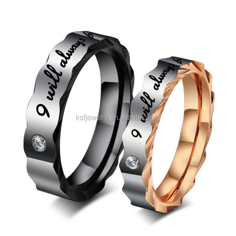 "Stainless Steel Couples Ring ""I will always be with you"" for Lovers Promise Engagement,<strong>Black</strong> & Gold"
