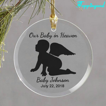 Customized Circle Engrave Pattern And Name Date Glass Ornament