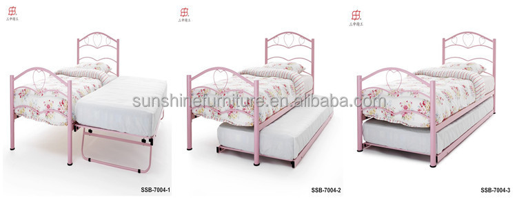 White/pink/black Metal Bedroom Furniture Twin Trundle Bed Frame ...