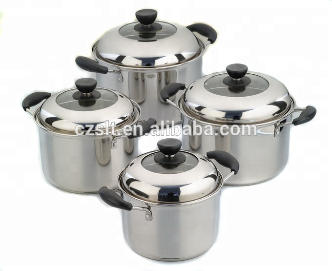 4PCS stainless steel cooking stockpots hot pot casserole set with lid
