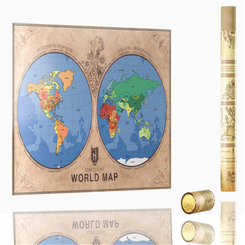 Scratch Off World Map Poster Detailed Eastern And Western Hemispheres Usa  States Europe And Australia Clearly Outlined - Buy Scratch Off World Map ...