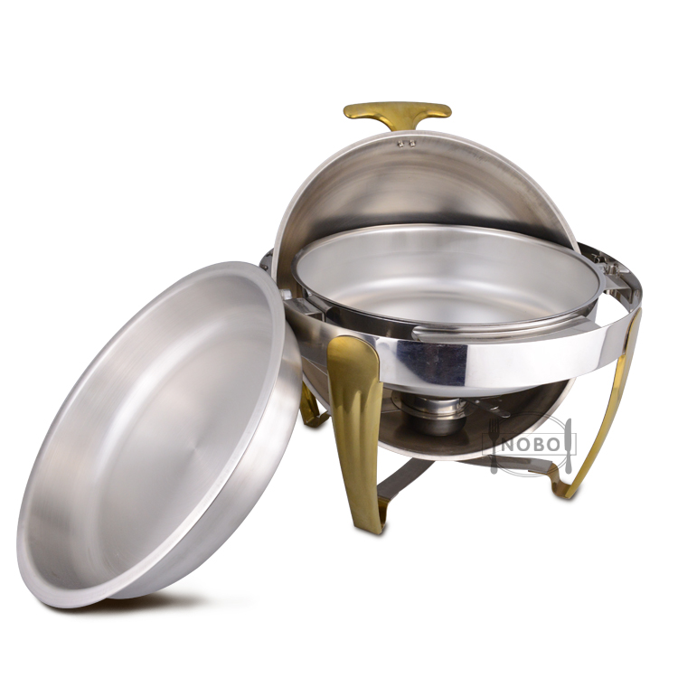 Round Shape Stainless Steel Roll Top Buffet Food Warmer Chafing Dish