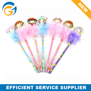 2014 Hot Wholesale Promotional Beautiful Doll Top Feather Pen