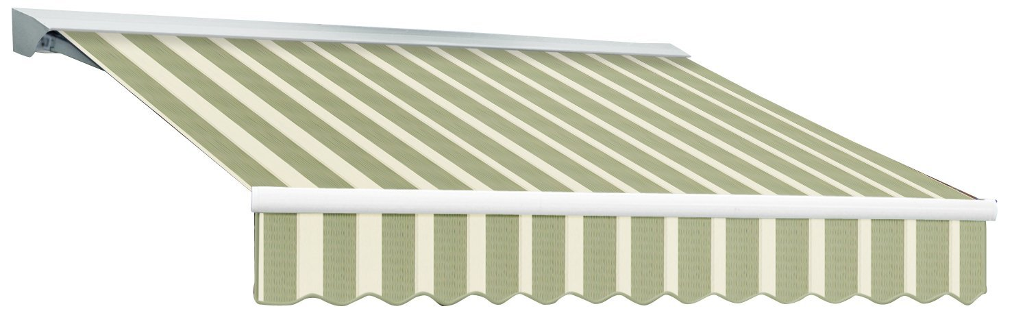 Awntech 20-Feet Destin LX with Hood Right Motor/Remote Retractable Acrylic Awning, 120-Inch Projection, Sage/Cream