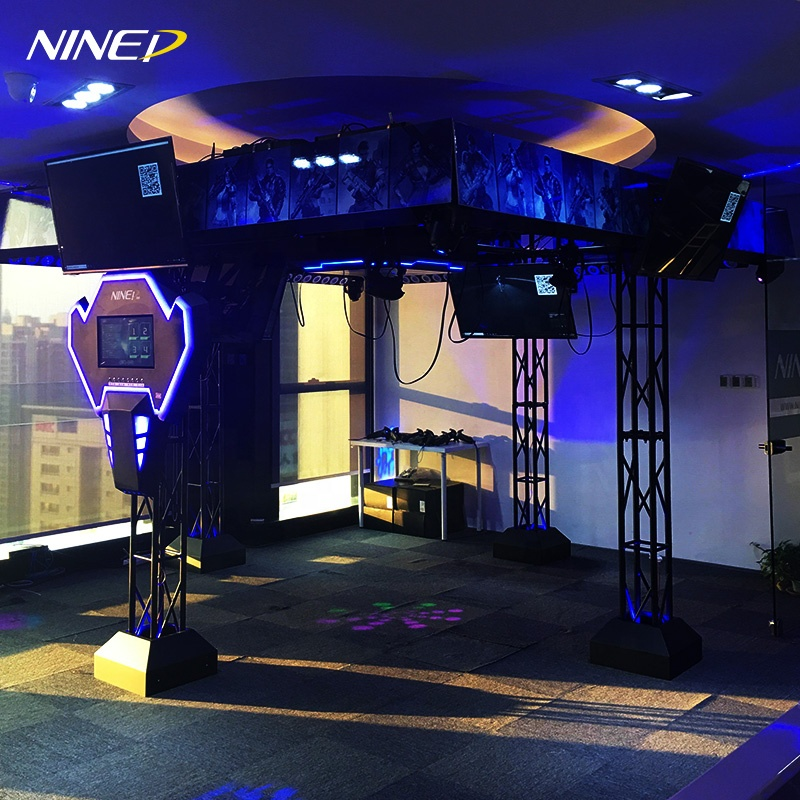 Amusement VR Theme Park IAAPA Black Technology 9d Vr Big Space Walker  Multiplayer Shooting Vr Virtual Simulator, View 9d vr space walker, NINED
