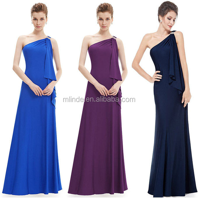 Stretchy Single Shoulder Evening Gown Women Prom Elegant Maxi Dress