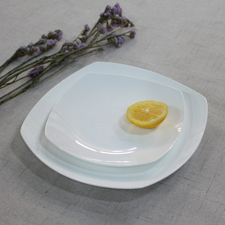 Wholesale Classic Porcelain 8 and 10.5 Inches White Square serving airline dishes and plates фото