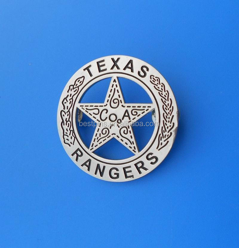 Emblema do filme das Texas Rangers, emblema do tampão do xerife do metal