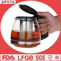 High quality hand made glass teapot heat resistant stainless steel filter tea pot glass glass teapot with infuse/filter