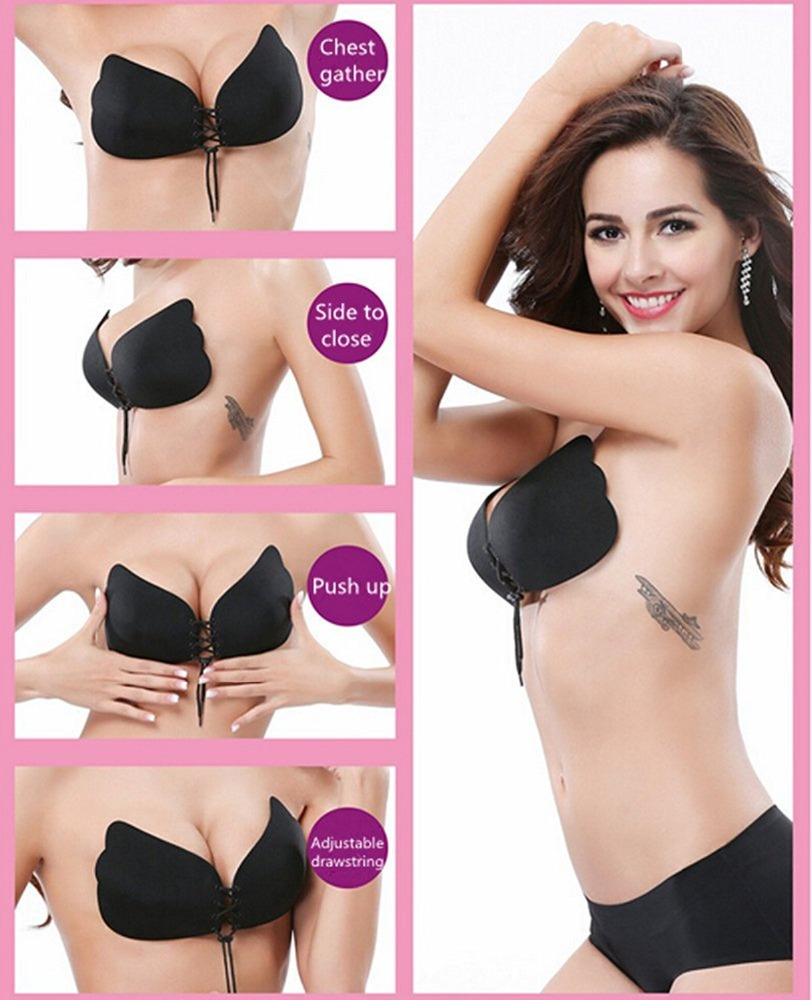 Women's Strapless Bra Self Adhesive Silicone Push Up with Drawstring