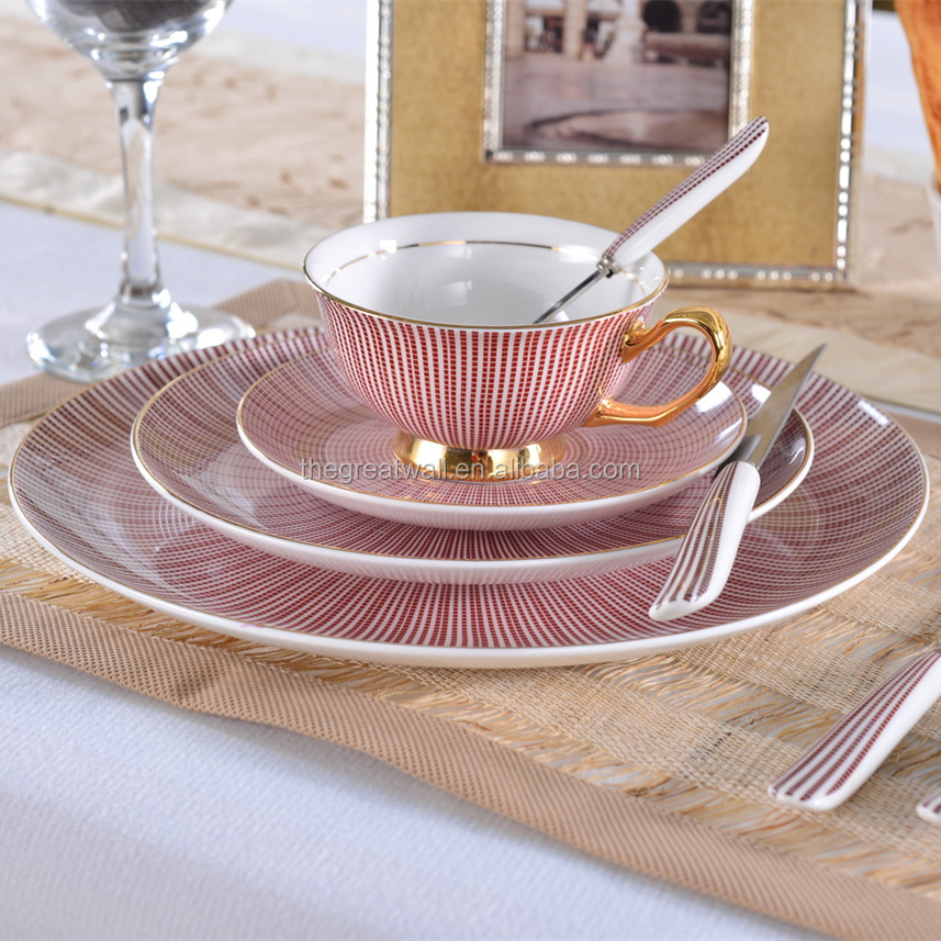 Popular 16pcs dinner set, Gold rim fine china cup & saucer plate set