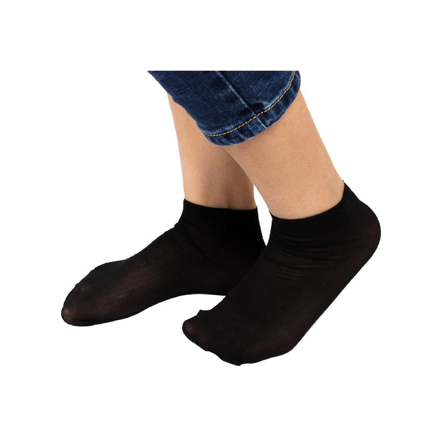 cc0c85b3b51 Get Quotations · Socks - TOOGOO(R) 10 Pairs Soft Elastic Black Sheer Ankle  Socks for Ladies