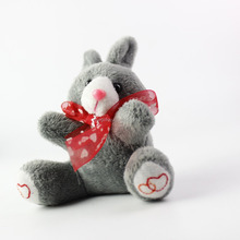 2016 High Quality factory wholesale cute custom brush easter decoration plush bunny rabbit keychain, silver gray color rabbit