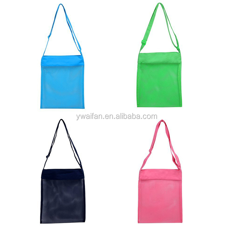 Colorful Mesh Beach Bags Camping Travel Sea Shell Collection Reusable Storage Tote Bags