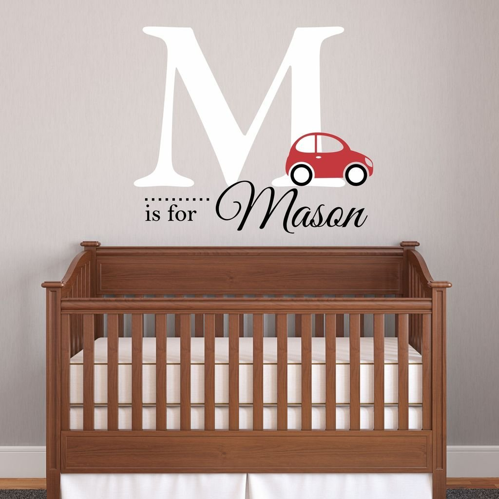 Nursery Boys Name And Initial Car Personalized Wall