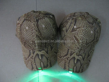 Python Skin Pattern Fabric Caps Outdoor Night Fishing Caps With ...