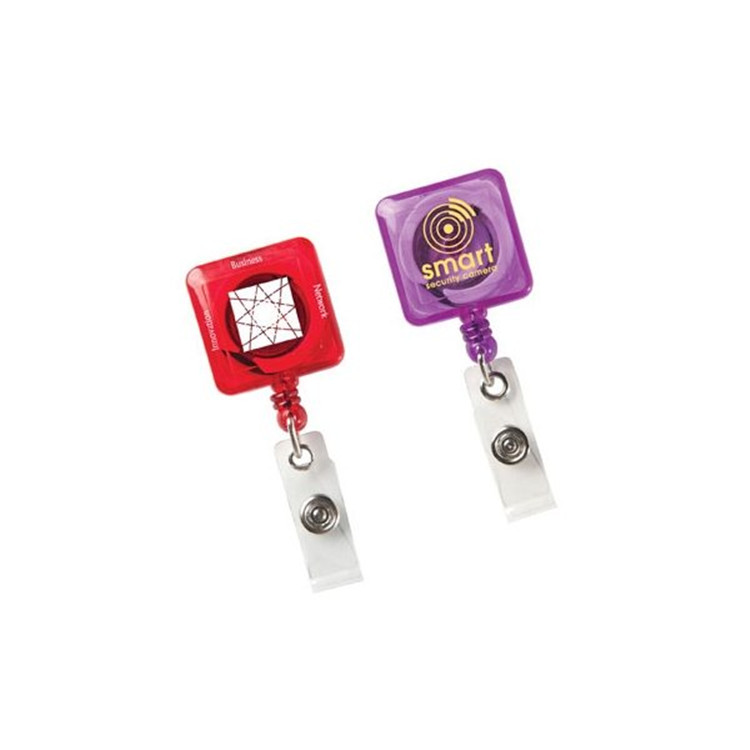 Colorful square plastic retractable badge reel with slide clip,retractable badge holder