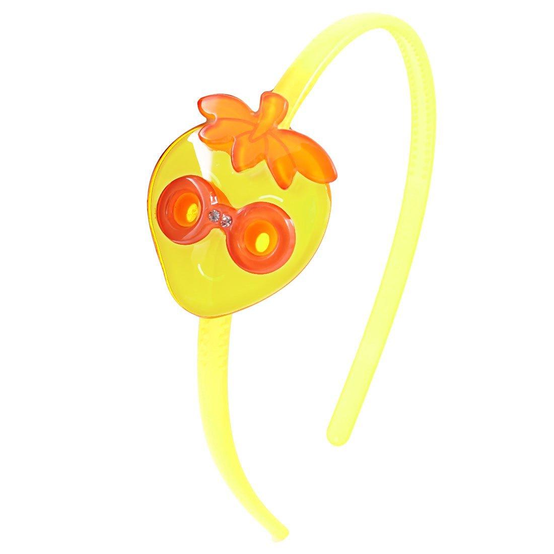 Girl Rhinestone Cartoon Strawberry Decor Hair Hoop Band Ornament Pale Yellow