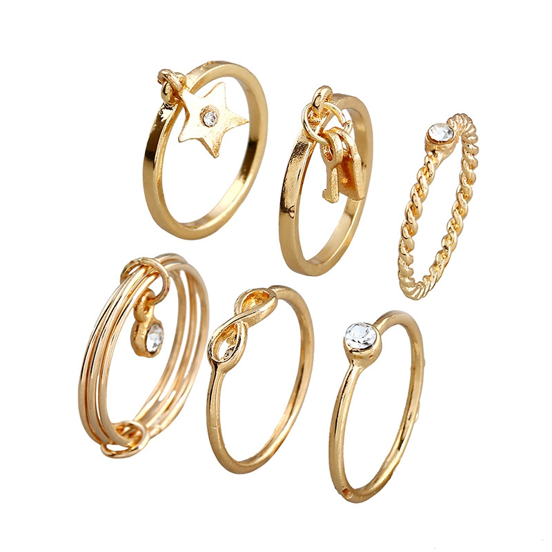 Different Model Star Knot Dound Shape Alloy Rings Women Accessories New Design Gold Plated Finger Ring Sets